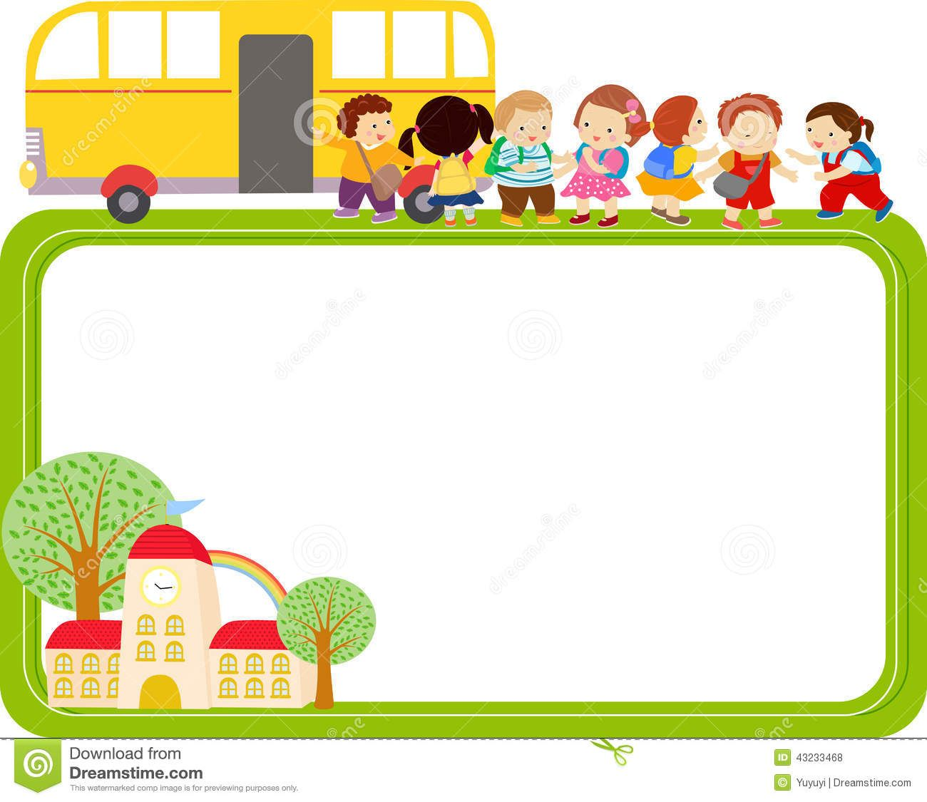 Bus clipart border. Cute cartoon kids and