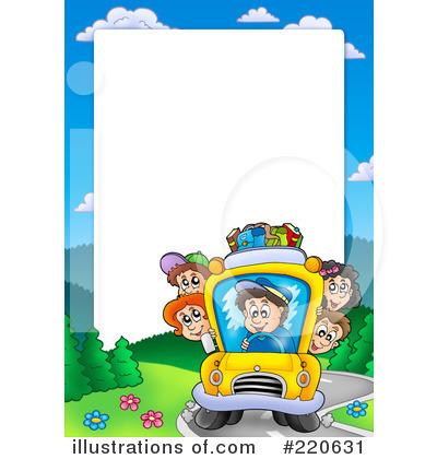 Bus clipart border. Back to school illustration