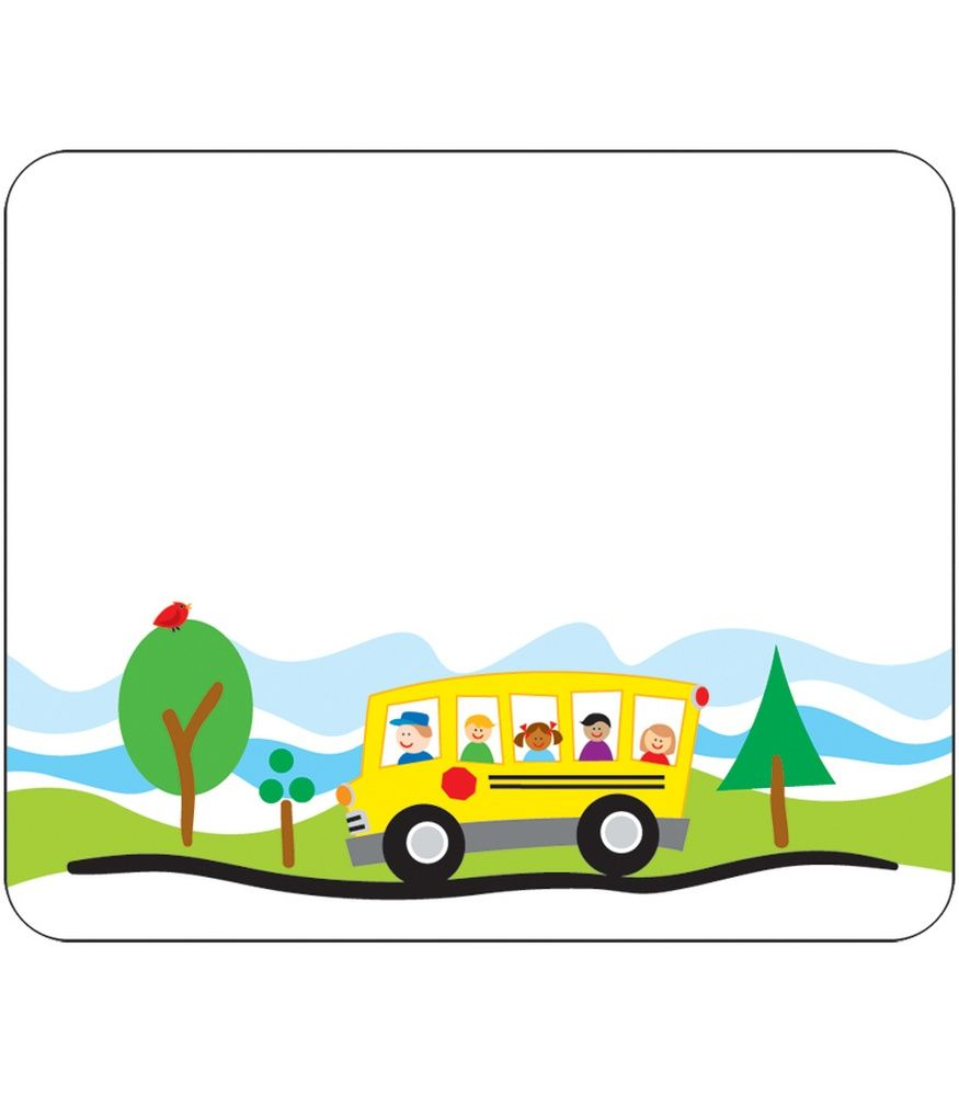 School name tags buses. Bus clipart border