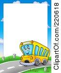 School panda free images. Bus clipart border