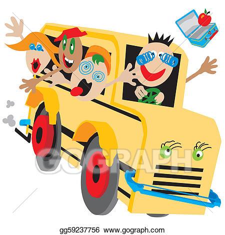 Bus clipart camp. Vector art crazy school