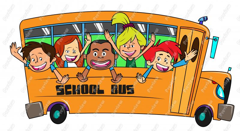 Schools out kids on. Bus clipart camp