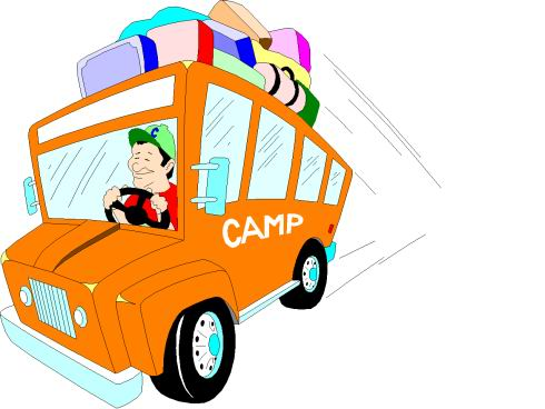 Camping car station . Bus clipart camp