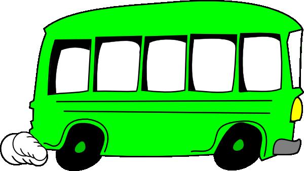 Green clip art at. Bus clipart cartoon