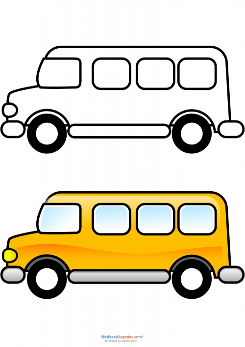 Match up coloring pages. Bus clipart color