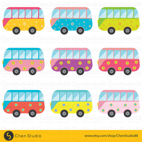 Bus clipart cute. Vector digital instant download