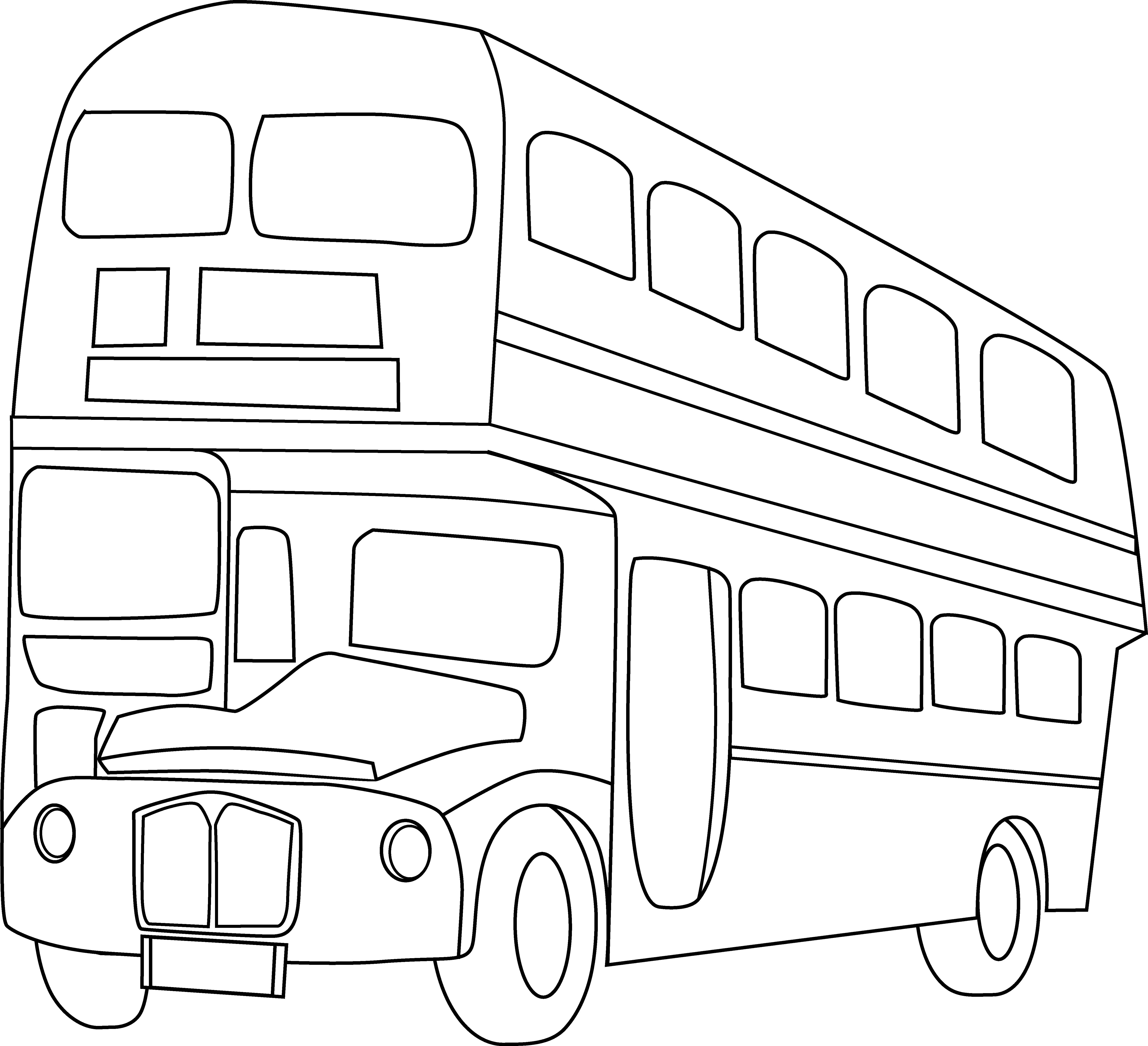 Double decker bus line. Color clipart city