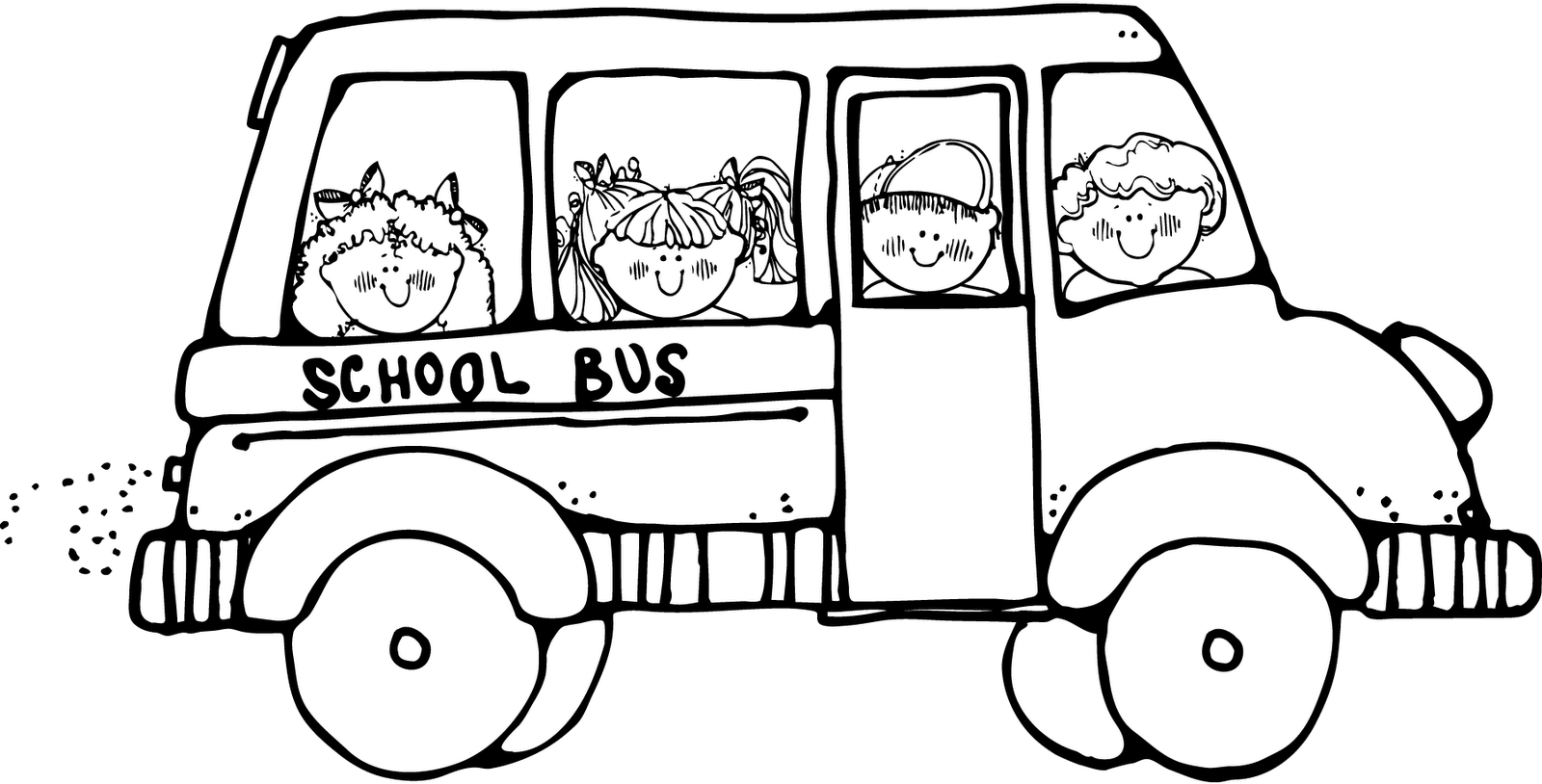 School bus safety coloring. Melonheadz clipart field trip