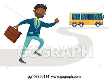 Vector stock black latecomer. Clipart bus person