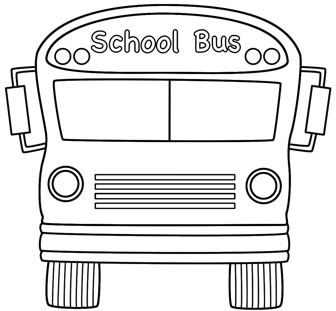 School outline template incep. Bus clipart printable