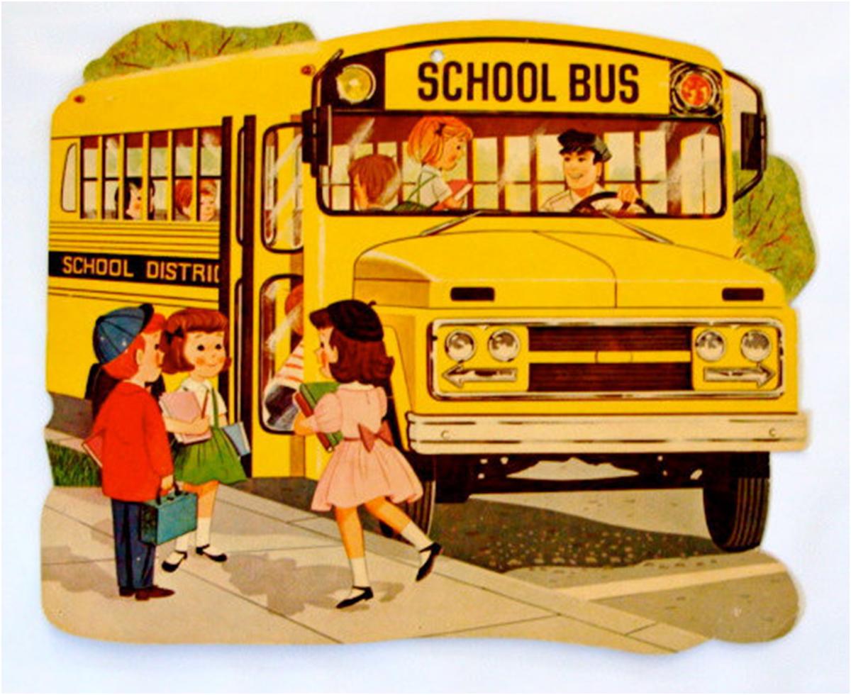 School vintage cards stock. Bus clipart retro