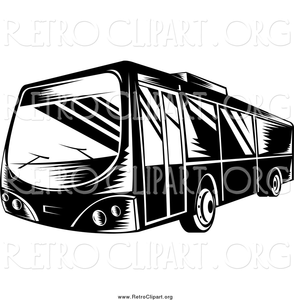Of a black and. Bus clipart retro