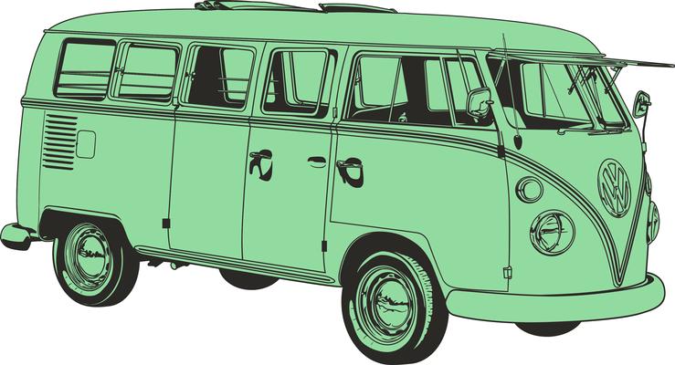 Sketch cliparts vintage. Bus clipart retro