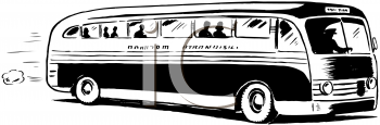 Bus clipart retro. Of a people riding