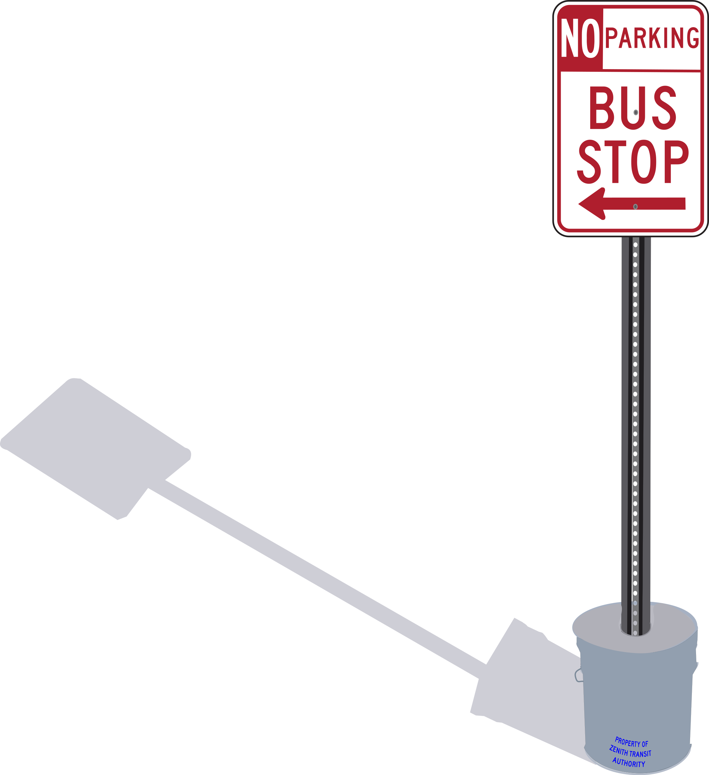 Driver clipart bus stop sign. In cement pail with
