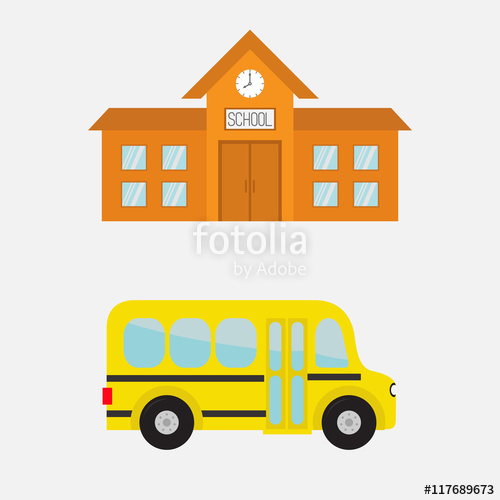 Bus clipart side view. School building with clock