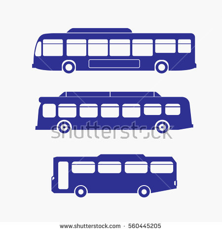 Purple collection vector stock. Bus clipart side view