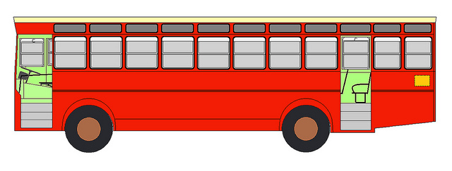Pencil and in color. Bus clipart side view