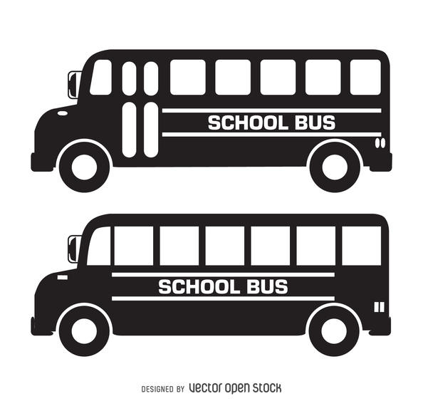 Bus clipart silhouette. Isolated school silhouettes vector