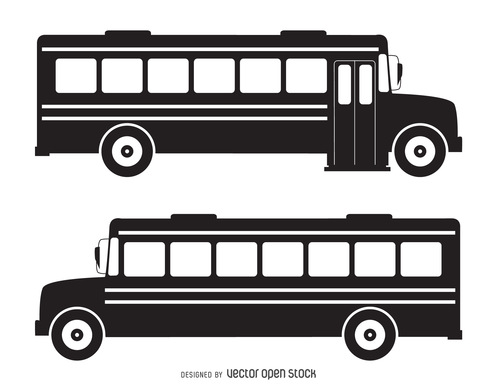 Bus clipart silhouette. Isolated school vector download