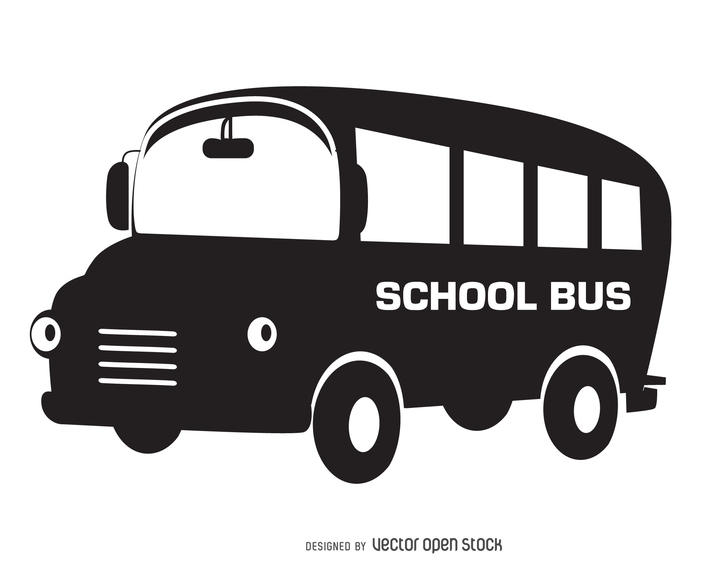 Bus clipart silhouette. Isolated school design vector
