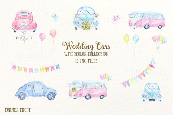 Car clip art watercolor. Bus clipart wedding