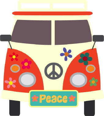 Bus clipart wedding. Peace and love clip