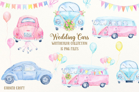 Camper clipart watercolor. Wedding car clip art
