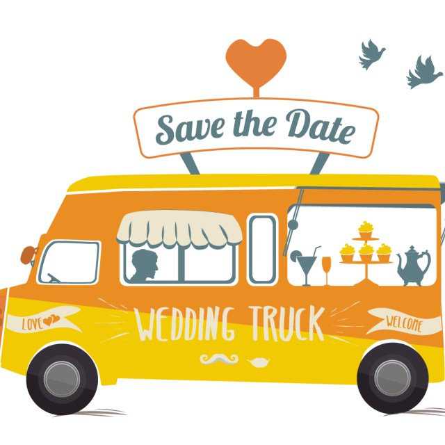 Bus clipart wedding. Pencil and in color
