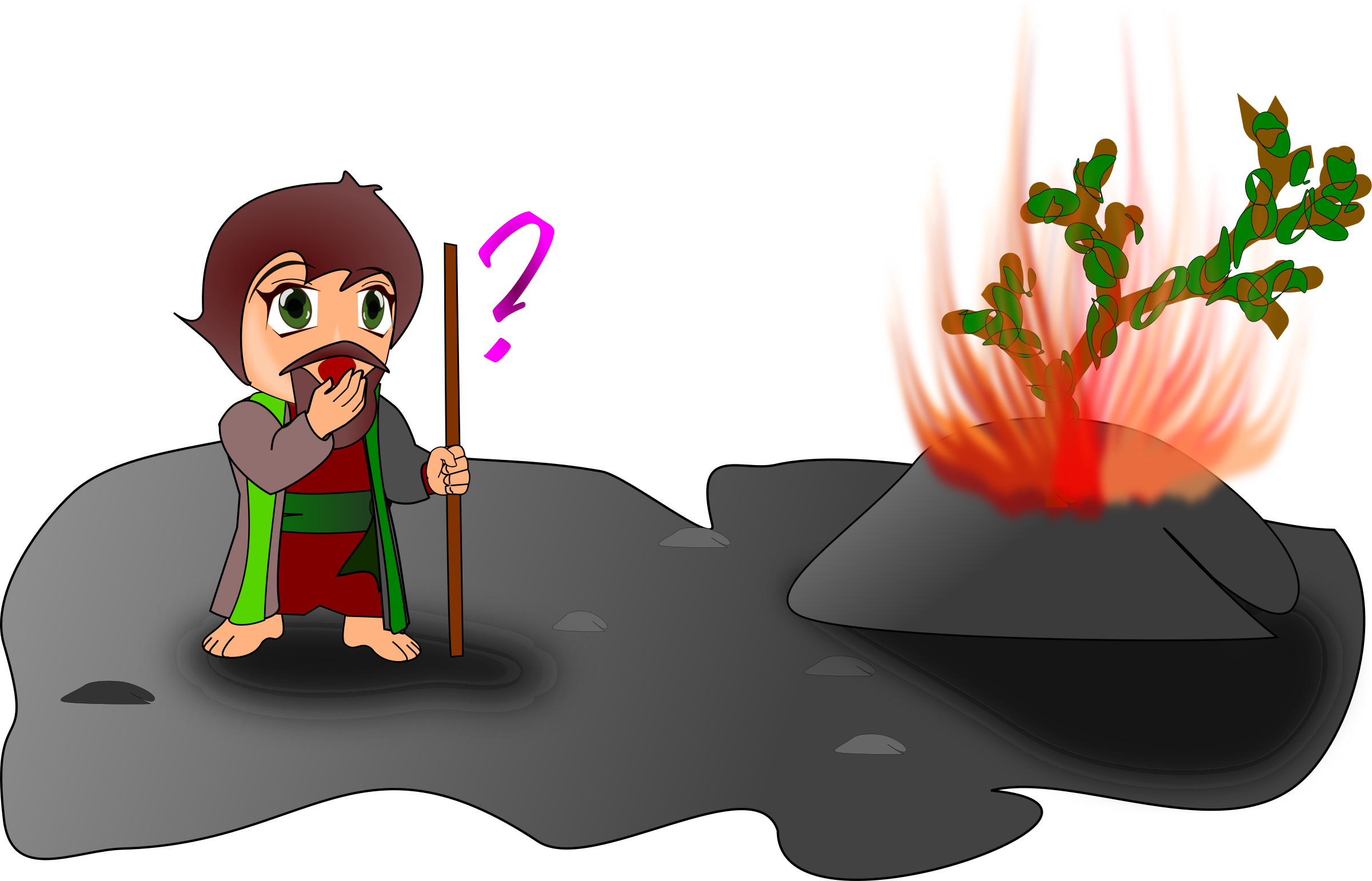 Moses and the burning. Fire clipart character
