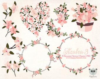 Flowers etsy vector graphics. Bush clipart azalea