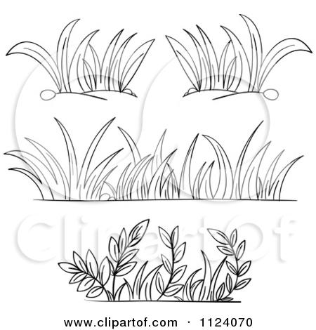 Grass border . Bush clipart black and white