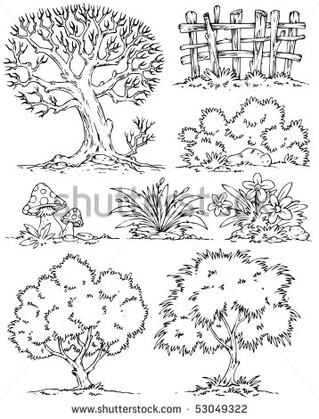Bush . Bushes clipart black and white