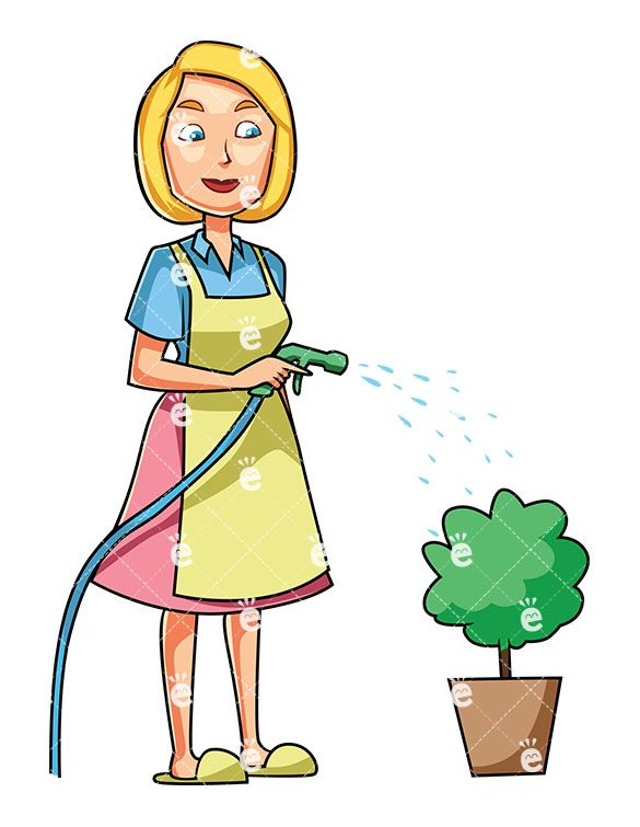 A Woman Watering A Small Plant In A Pot