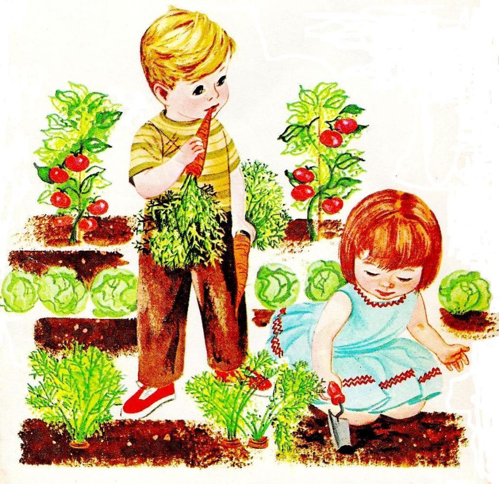 Retro photo of gardening. Children clipart garden