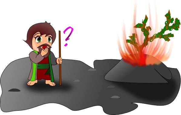 Moses and the burning. Bushes clipart chibi