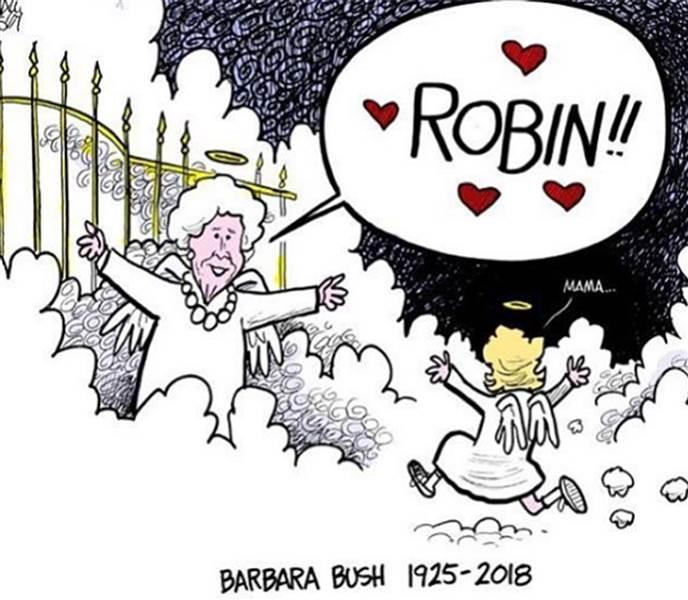Cartoon of barbara reuniting. Bush clipart comic