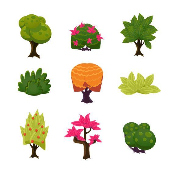 Bush clipart comic. Cartoon trees leaves and
