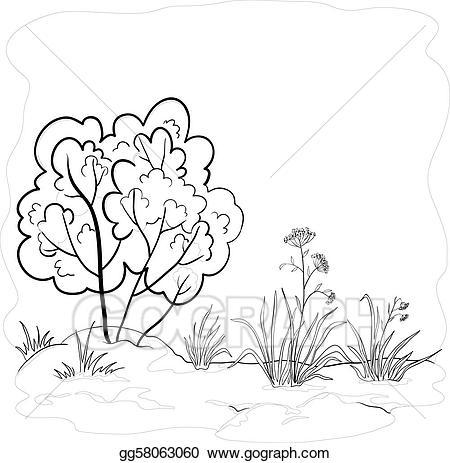 Vector art garden with. Bush clipart drawing