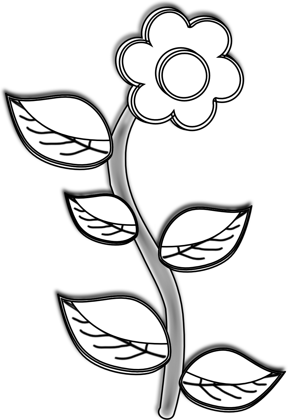 Rose clipart drawn. Flower drawings in black