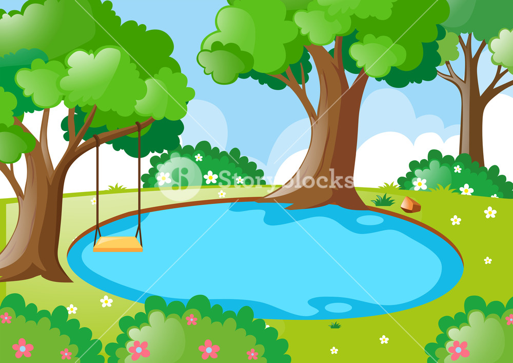 Bush clipart forest. Pond in the illustration