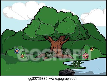 Vector art big tree. Bush clipart forest