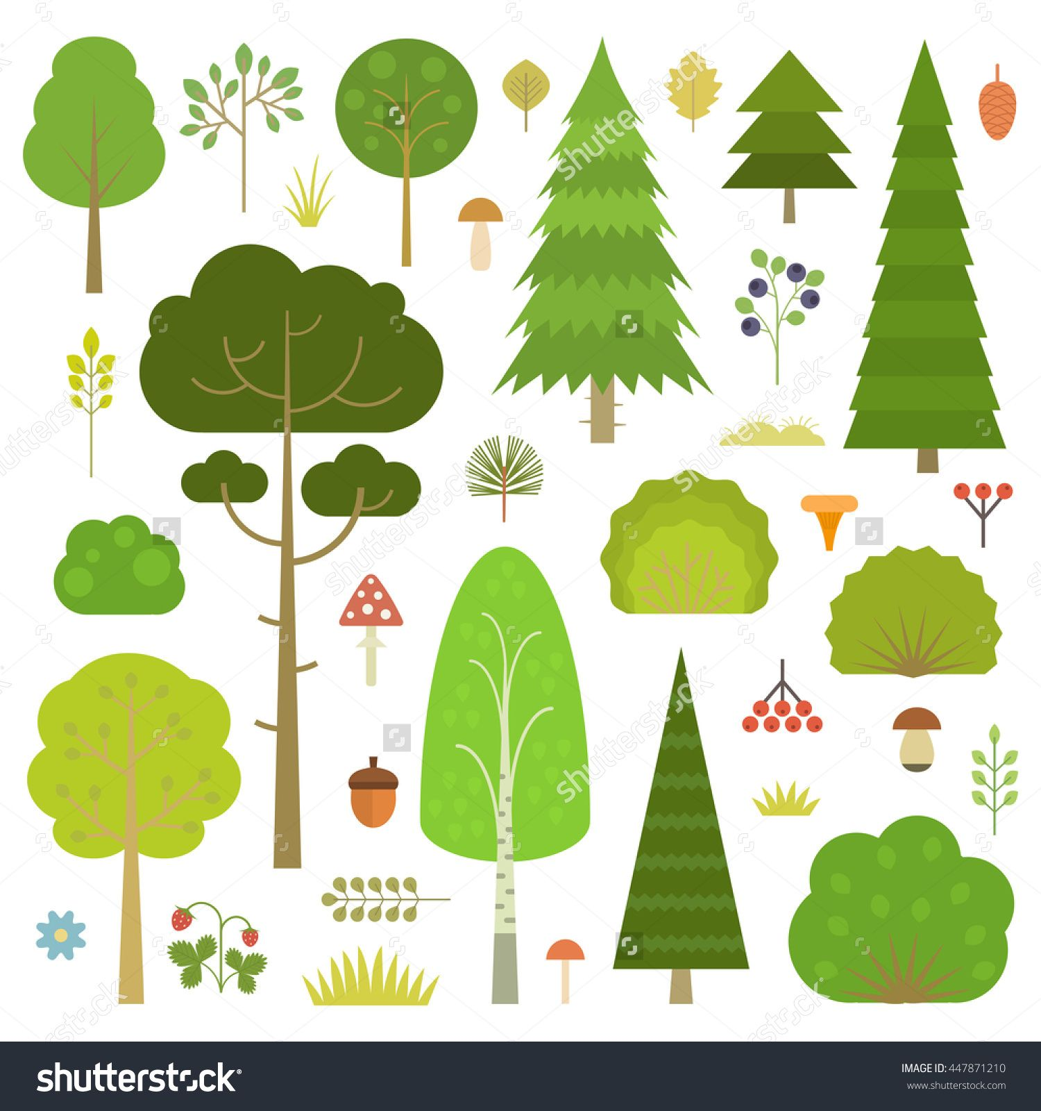 Bush clipart forest. Set of flat vector