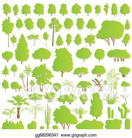 Vector illustration nature tree. Bushes clipart forest
