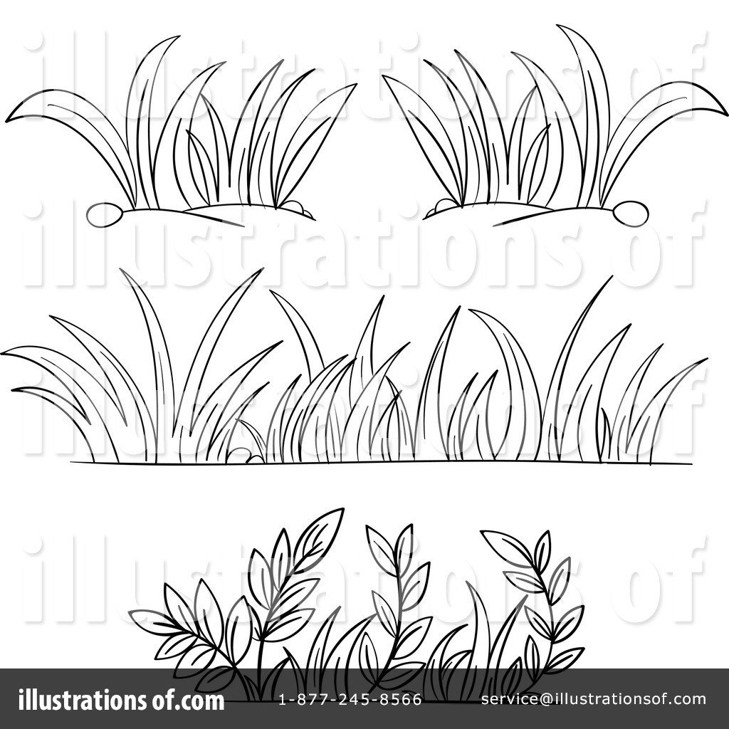 collection of grass. Bush clipart outline