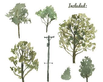 Bush clipart paint. Watercolor painted trees clip