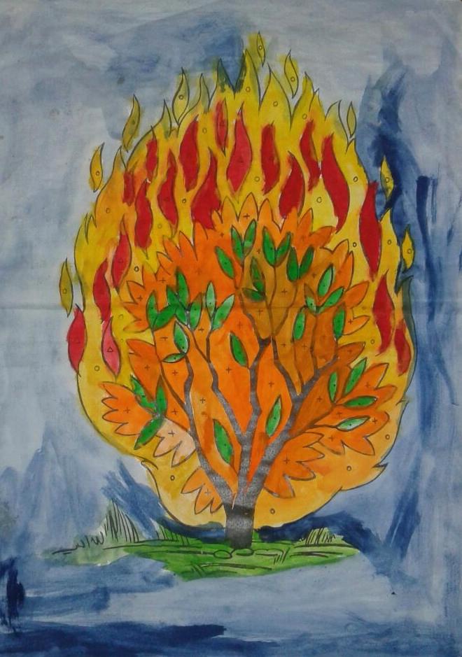 Burning drawing at getdrawings. Bush clipart paint