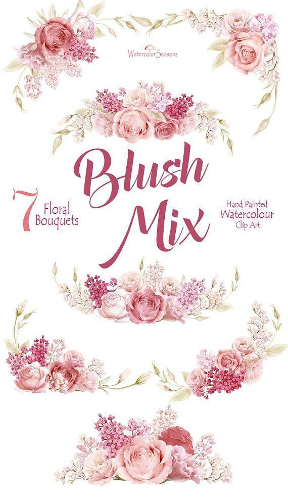 Bush clipart paint. Hand painted flower watercolor