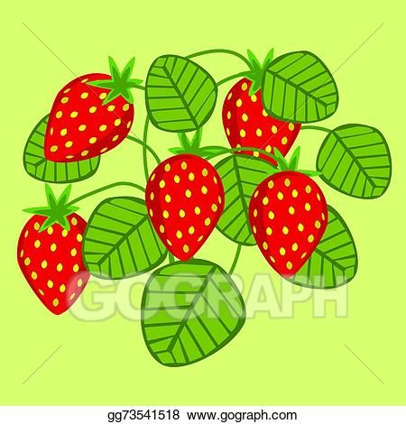 Strawberries clipart bush. Vector art strawberry eps