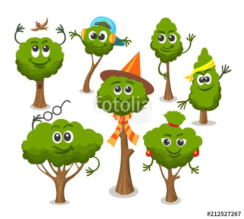 Bush clipart vector. Cute trees with faces